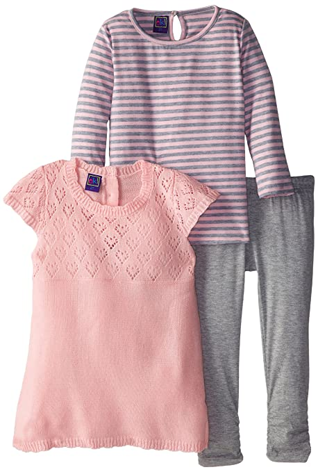 Ok Kids Little Girls' 3 Piece Lace Legging Set, Pink, 2T