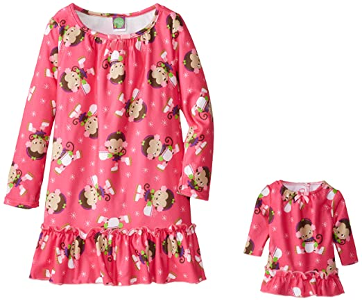 Dollie & Me Big Girls' Monkeys with Earmuffs Nightgown, Purple/Pink, 6