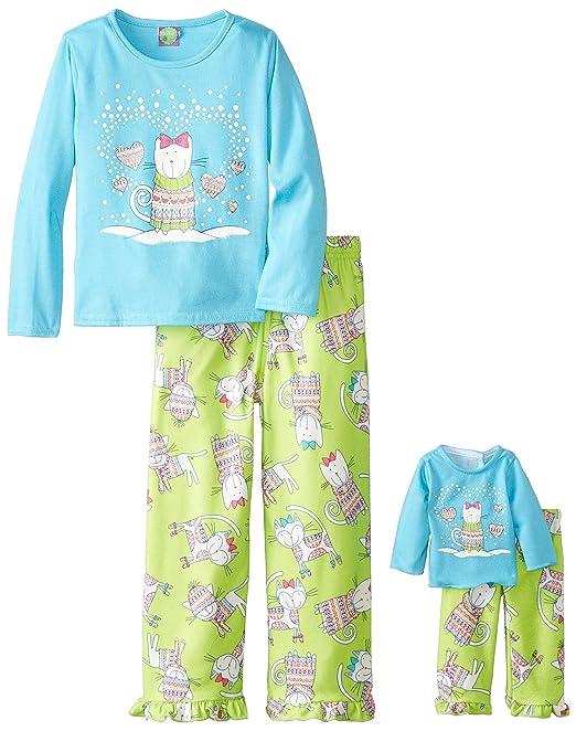 Dollie & Me Big Girls' Kitten In A Sweater Pajama Pant Set, Blue/Green, 4