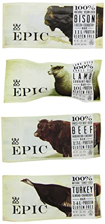 Epic Bar Sampler Pack- Bison, Turkey, Beef & Lamb (1 Bar of Each)
