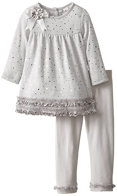 Rare Editions Little Girls' Glitter Tiered Legging Set, Silver, 2T