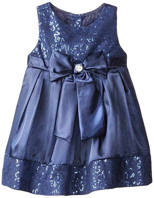 Sweetheart Rose Little Girls' Satin Occasion Dress with Sequins, Blue, 6X