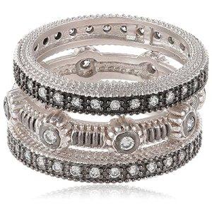 Freida Rothman Two-Tone 3-Stack Mixed Ridged Cubic Zirconia Ring