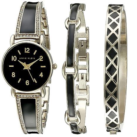 Anne Klein Women's AK/2052BKST Swarovski Crystal Accented Gold-Tone and Black Bangle Watch with Bracelet Set