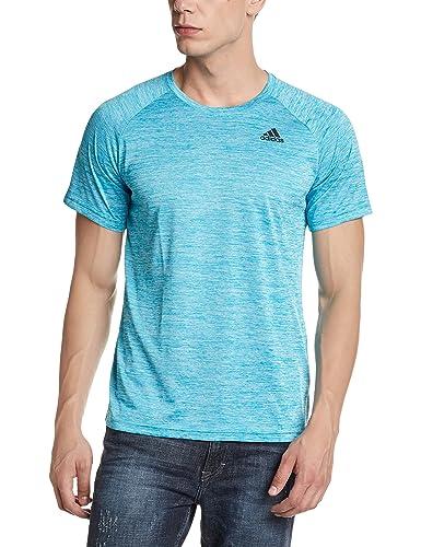 adidas Men's Round Neck Synthetic T-Shirt (4058025437994_CF0249_Large_Eneblu)