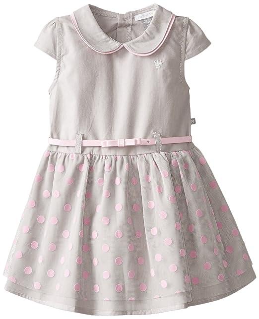 Petit Lem Little Girls' Miss Masquerade Short Sleeve Wovem Dress, Grey/Pink, 3