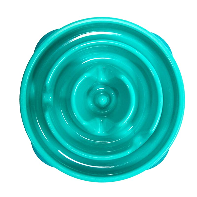 Outward Hound Kyjen  51006 Fun Feeder Slow Feed Interactive Bloat Stop Dog Bowl, Small, Teal
