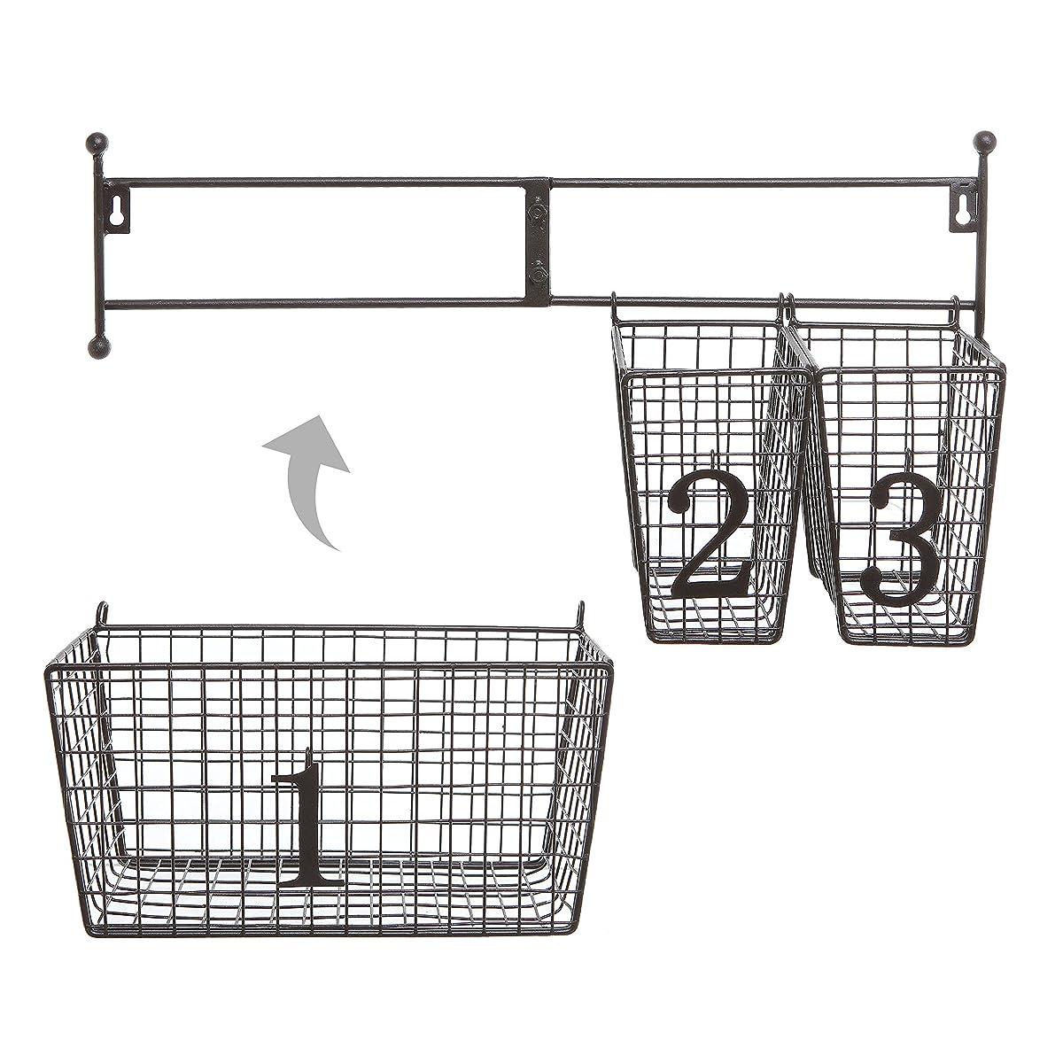 Wall Mounted Black Metal Wire Mesh Numbered Storage Basket