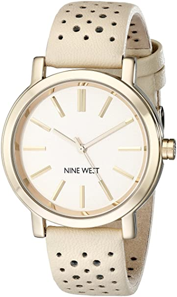 Nine West Women's NW/1720NTNT Gold-Tone Watch with Tan Perforated Strap