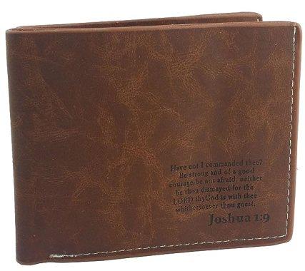 Christian Scripture Leather Bi-fold Wallet Joshua 1:9