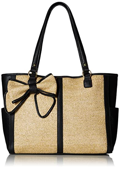 Jessica Simpson Scarlett EW Tote Bag, Natural Straw/Black, One Size