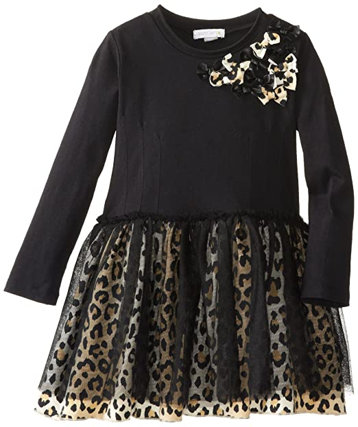 Petit Lem Little Girls' Animalicious Long Sleeve Knit Dress, Black, 7