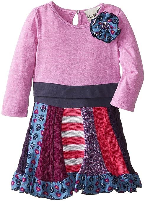 Rare Editions Little Girls' Drop Waist Dress Multi Panel, Lilac, 6X