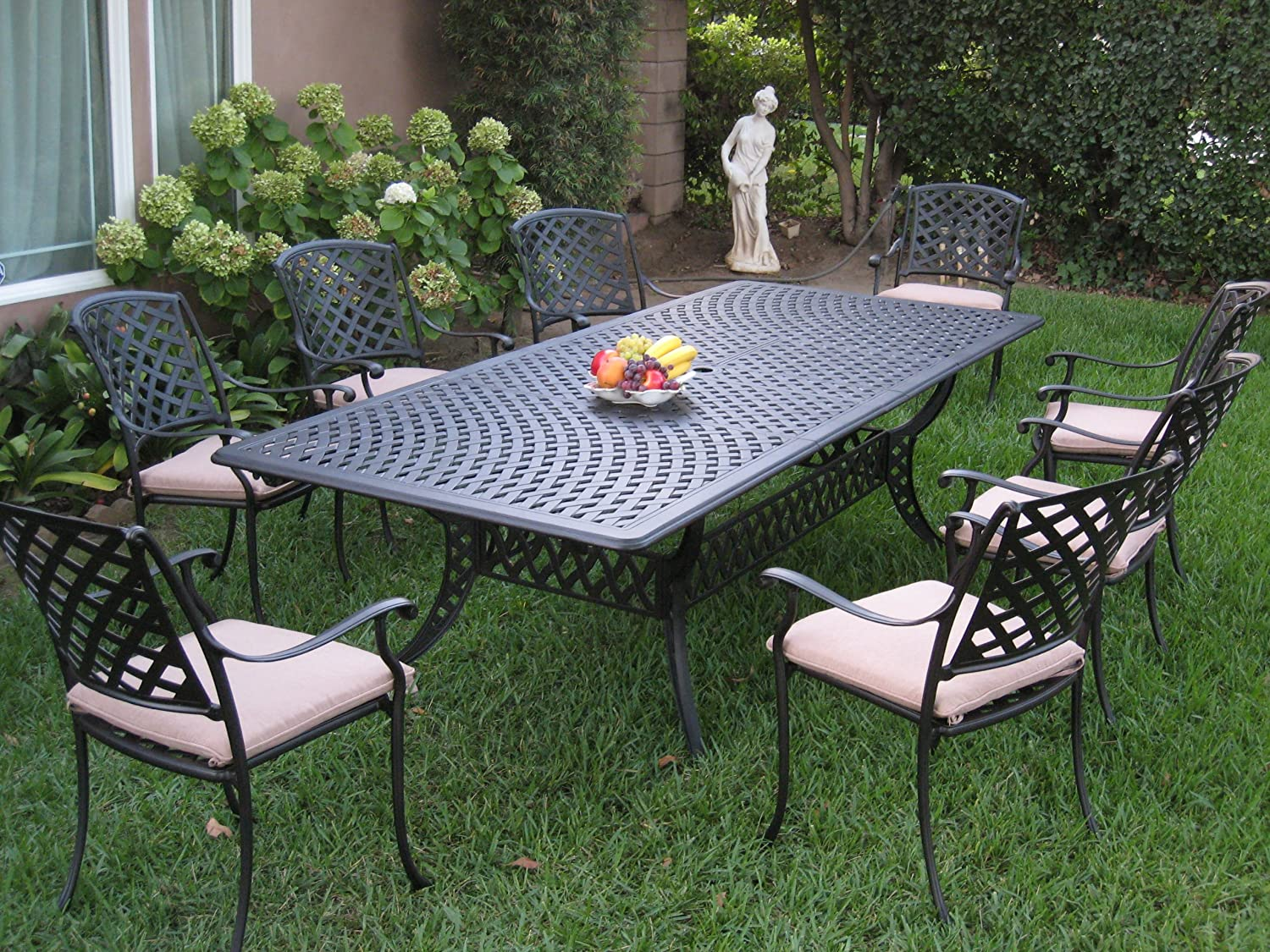 Cast Aluminum Patio Furniture 9 Piece Extension Dining