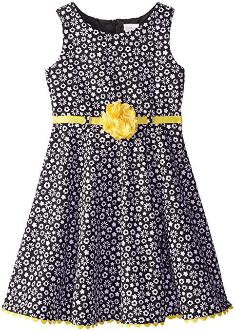 Youngland Little Girls' Ditzy Floral Pointe Dress, Black/White/Yellow, 2T