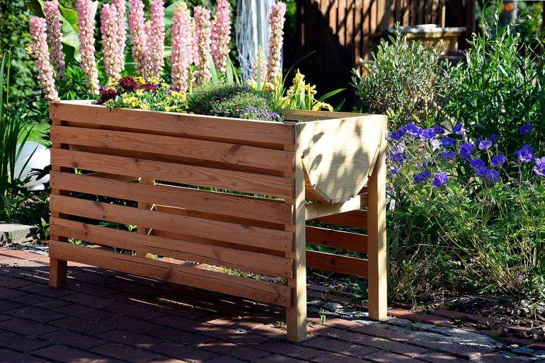 dobar 58196e Dekoratives Hochbeet aus Holz (Kiefer): Tischbeet Bausatz, für Gemüse, Kräuter, Blumen, Beet flexibel platzierbar in Garten, Terasse, Balkon, 100 x 45 x 60 cm - Pflanzbeet Hochbeet