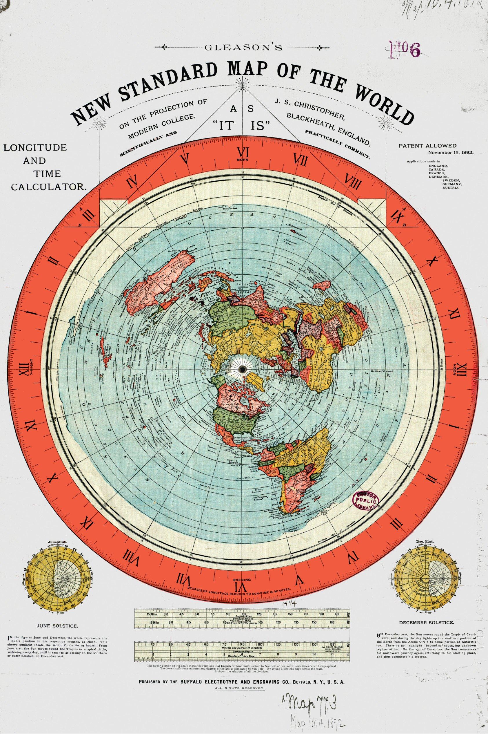 Cartina terra piatta Gleason 1892