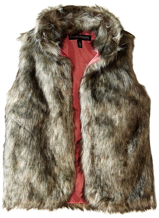 Derek Heart Big Girls' Faux Fur Vest, Grey Tonal, Large