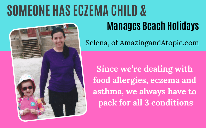 Someone has eczema Selena of AmazingandAtopic.com on beach holidays EczemaBlues