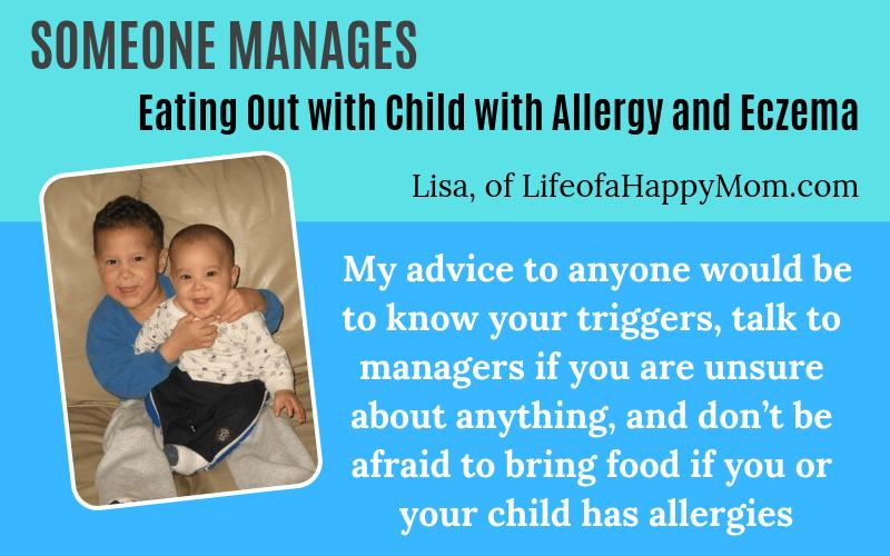 Someone has eczema Lisa LifeofaHappyMom.com eczema child and eating out Story on EczemaBlues