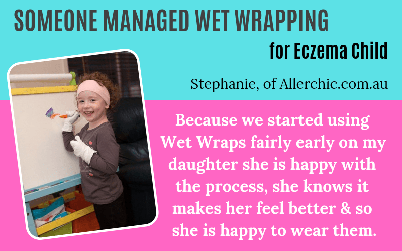 Someone has eczema Wet Wrapping Stephanie Allerchic.com.au on EczemaBlues
