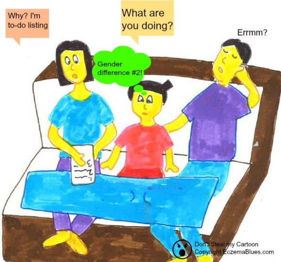 Eczema cartoon on gender from toddler's view