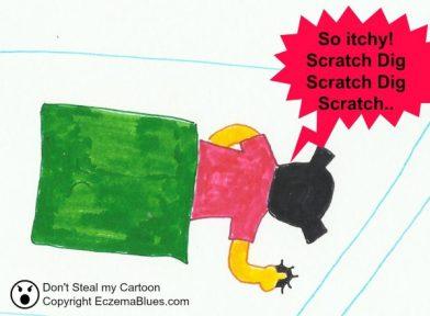 Eczema Sleep affected by Scratching Cartoon