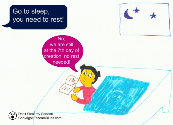 Sleep Rest Eczema Creation cartoon