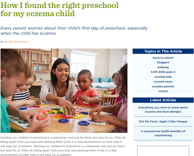 Mei MarcieMom EczemaBlues sharing on NEA on finding the right preschool for your eczema child