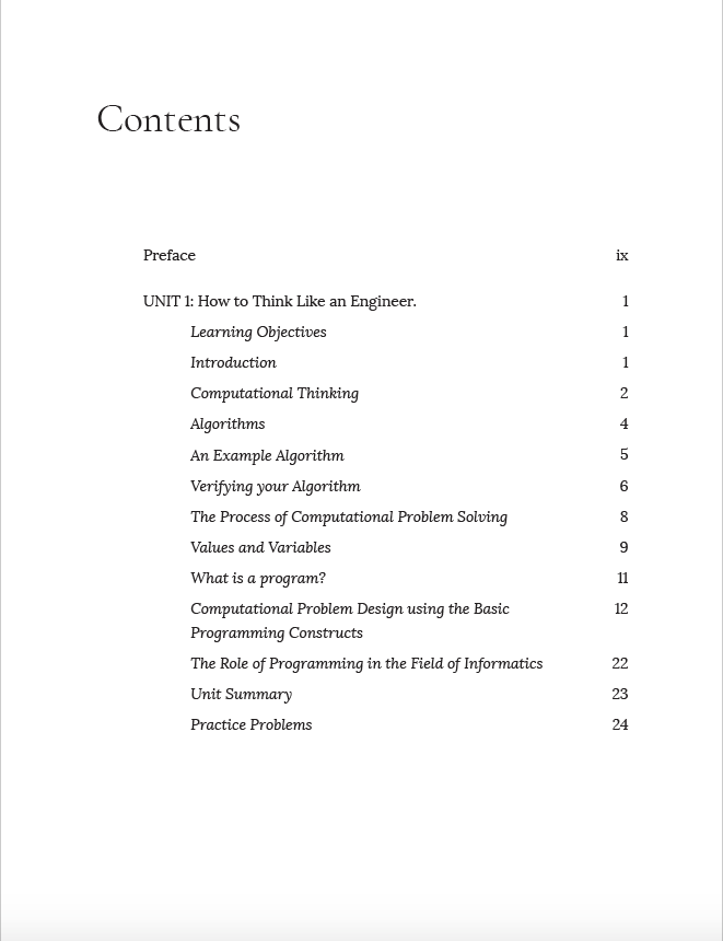 Table of Contents showing the two tier table of contents
