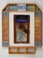 """Elba Damast, """"Estudio 1914,"""" 1991 Custom frame, acrylic and ink on paper.71cm X 56cm Collection of the family"""