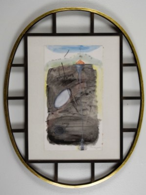 "Elba Damast, ""Estudio 1313,"" 1991 Custom frame, acrylic and ink on paper.70cm X 55cm Collection of the family"