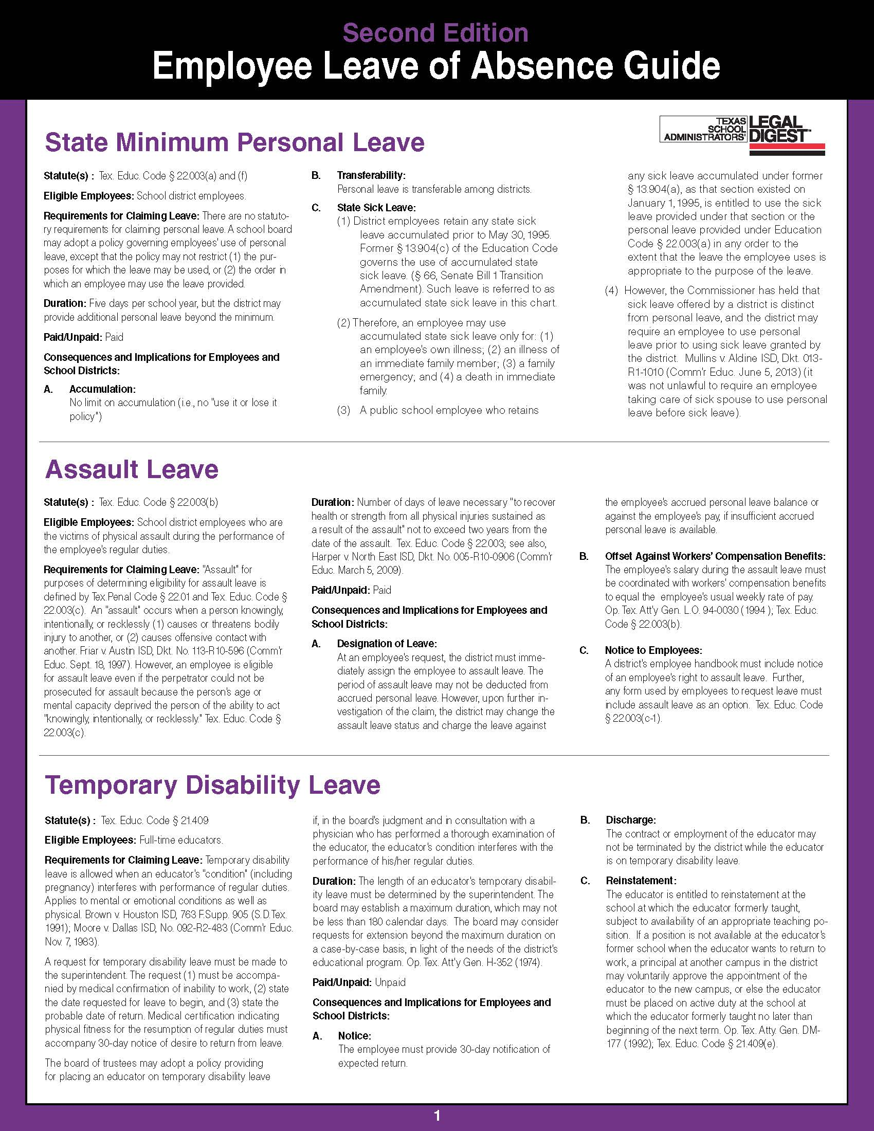 employee leave of absence guide education 311