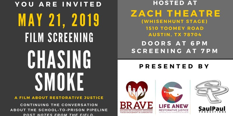 "Announcing the Zach Scott Theater screening of ""Chasing Smoke"""