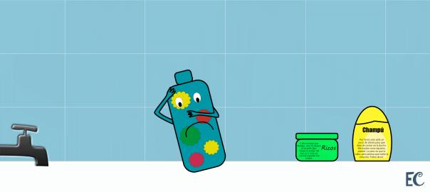 la botella de gel