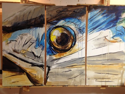7x4 foot acrylic and ink on canvas.