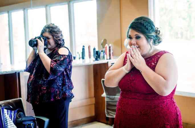 Bridesmaid reacting