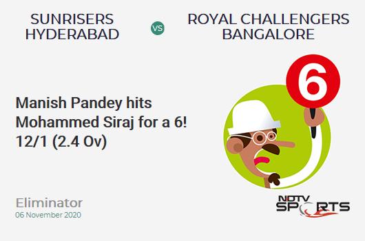 SRH vs RCB: Eliminator: It's a SIX! Manish Pandey hits Mohammed Siraj. Sunrisers Hyderabad 12/1 (2.4 Ov). Target: 132; RRR: 6.92