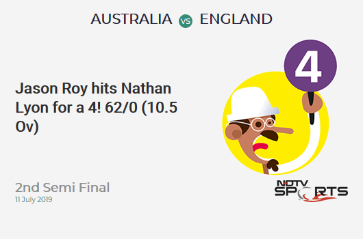 AUS vs ENG: 2nd Semi Final: Jason Roy hits Nathan Lyon for a 4! England 62/0 (10.5 Ov). Target: 224; RRR: 4.14
