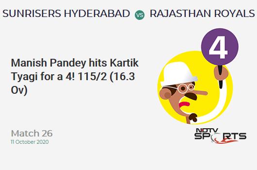 SRH vs RR: Match 26: Manish Pandey hits Kartik Tyagi for a 4! Sunrisers Hyderabad 115/2 (16.3 Ov). CRR: 6.96