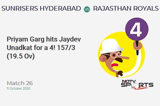 SRH vs RR: Match 26: Priyam Garg hits Jaydev Unadkat for a 4! Sunrisers Hyderabad 157/3 (19.5 Ov). CRR: 7.91
