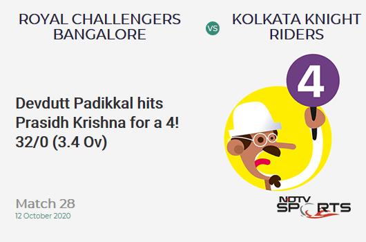 RCB vs KKR: Match 28: Devdutt Padikkal hits Prasidh Krishna for a 4! Royal Challengers Bangalore 32/0 (3.4 Ov). CRR: 8.72