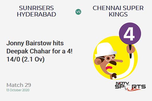 SRH vs CSK: Match 29: Jonny Bairstow hits Deepak Chahar for a 4! Sunrisers Hyderabad 14/0 (2.1 Ov). Target: 168; RRR: 8.64