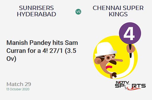 SRH vs CSK: Match 29: Manish Pandey hits Sam Curran for a 4! Sunrisers Hyderabad 27/1 (3.5 Ov). Target: 168; RRR: 8.72
