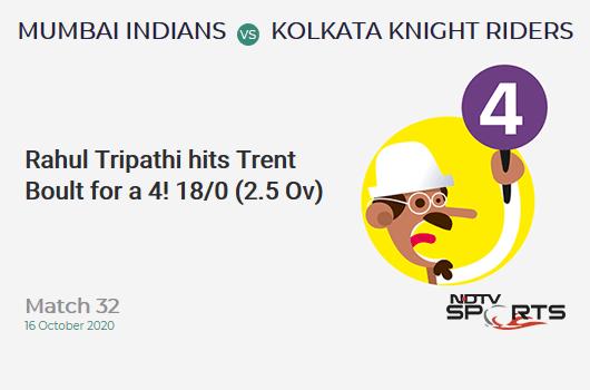 MI vs KKR: Match 32: Rahul Tripathi hits Trent Boult for a 4! Kolkata Knight Riders 18/0 (2.5 Ov). CRR: 6.35