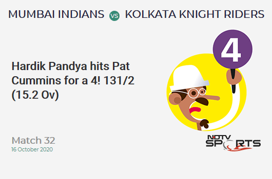 MI vs KKR: Match 32: Hardik Pandya hits Pat Cummins for a 4! Mumbai Indians 131/2 (15.2 Ov). Target: 149; RRR: 3.86