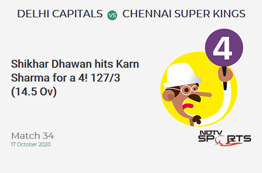 DC vs CSK: Match 34: Shikhar Dhawan hits Karn Sharma for a 4! Delhi Capitals 127/3 (14.5 Ov). Target: 180; RRR: 10.26