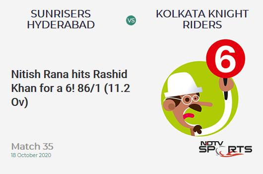 SRH vs KKR: Match 35: It's a SIX! Nitish Rana hits Rashid Khan. Kolkata Knight Riders 86/1 (11.2 Ov). CRR: 7.58