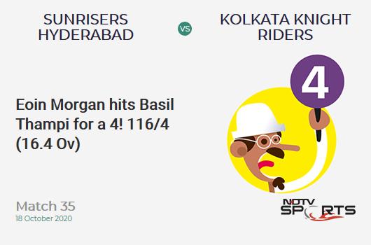 SRH vs KKR: Match 35: Eoin Morgan hits Basil Thampi for a 4! Kolkata Knight Riders 116/4 (16.4 Ov). CRR: 6.96