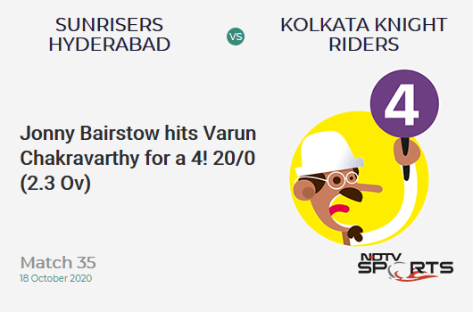 SRH vs KKR: Match 35: Jonny Bairstow hits Varun Chakravarthy for a 4! Sunrisers Hyderabad 20/0 (2.3 Ov). Target: 164; RRR: 8.23